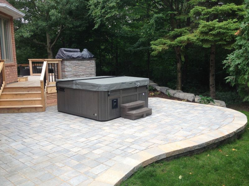 Kanata Deck Project With Hot Tub Landscaping And Walkway